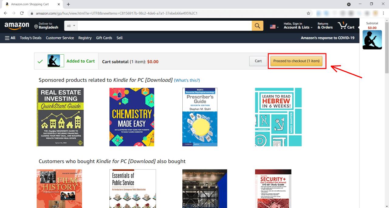Kindle PC app amazon Proceed to checkout